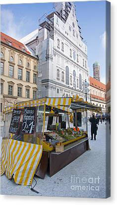 Munich Fruit Seller Canvas Print by Andrew  Michael