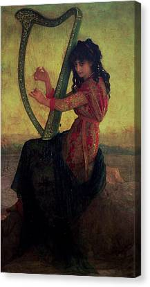 Muse Playing The Harp Canvas Print by Antoine Auguste Ernest Hebert