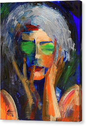 Muse Thinking Canvas Print by Walter Fahmy