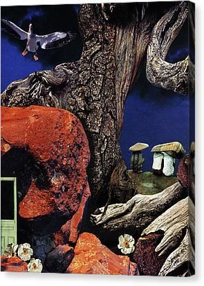 Mushroom People - Collage Canvas Print by Linda Apple