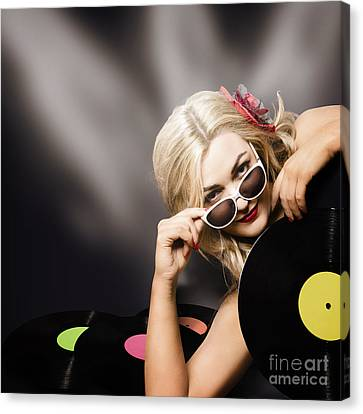 Music Dj Girl Holding Audio Vinyl Record Canvas Print by Jorgo Photography - Wall Art Gallery
