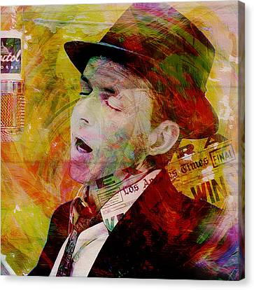 Music Icons - Frank Sinatra Ill Canvas Print by Joost Hogervorst