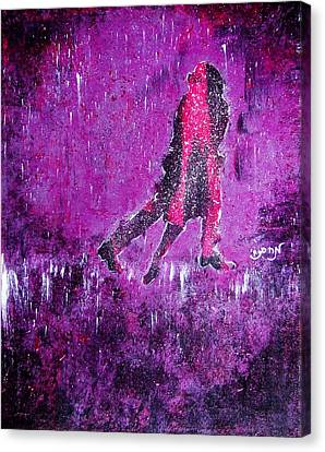 Music Inspired Dancing Tango Couple In Purple Rain Contemporary Lyrical Splattered And Emotional Canvas Print by M Zimmerman