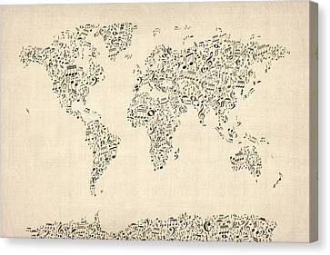 Music Notes Map Of The World Map Canvas Print by Michael Tompsett