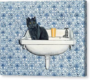 My Bathroom Cat  Canvas Print by Ditz