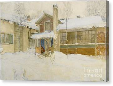 My Country Cottage In Winter Canvas Print by MotionAge Designs