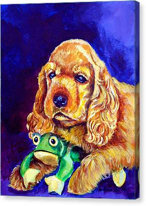 My Froggy - Cocker Spaniel Puppy Canvas Print by Lyn Cook