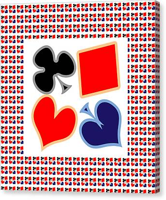 My Poker Room Decorations  Heart Spade Clubs Diamond Card Games Collection Canvas Print by Navin Joshi