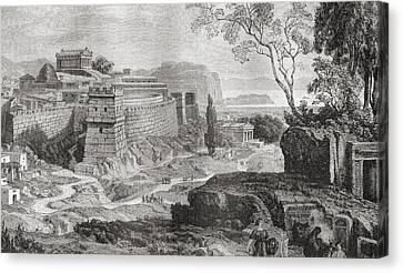 Mycenae, The Centre Of Early Greek Canvas Print by Vintage Design Pics