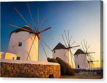 Mykonos Windmills Canvas Print by Inge Johnsson