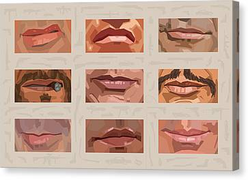 Mystery Mouths Of The Action Genre Canvas Print by Mitch Frey