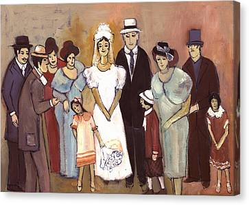 Naive Wedding Large Family White Bride Black Groom Red Women Girls Brown Men With Hats And Flowers Canvas Print by Rachel Hershkovitz