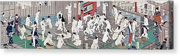 Naked Bodies Canvas Print by Toyohara Kunichika