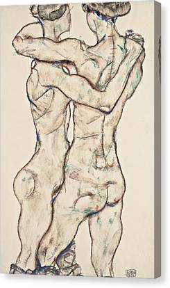 Naked Girls Embracing Canvas Print by Egon Schiele