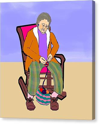 Nana Knitting Canvas Print by Pharris Art