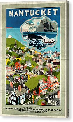 Nantucket - Vintage Poster Folded Canvas Print by Vintage Advertising Posters