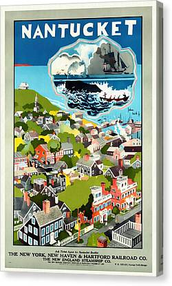 Nantucket - Vintage Poster Restored Canvas Print by Vintage Advertising Posters