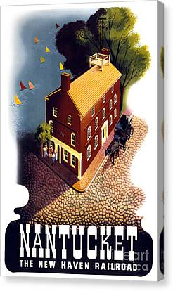 Nantucket Vintage Travel Poster Restored Canvas Print by Carsten Reisinger
