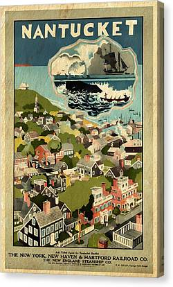 Nantucket - Vintage Poster Vintagelized Canvas Print by Vintage Advertising Posters