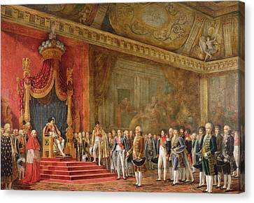 Napoleon Receiving The Delegation From The Roman Senate Canvas Print by Innocent Louis Goubaud