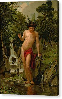 Narcissus In Love With His Own Reflection Canvas Print by Dionisio Baixeras-Verdaguer