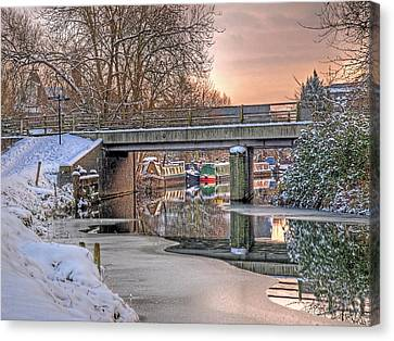 Narrow Boats Under The Bridge Canvas Print by Gill Billington