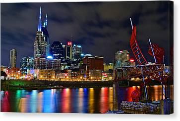 Nashville After Dark Canvas Print by Frozen in Time Fine Art Photography