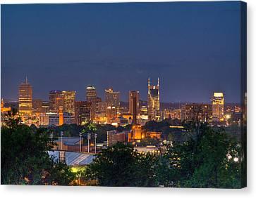 Nashville By Night 2 Canvas Print by Douglas Barnett