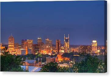 Nashville By Night Canvas Print by Douglas Barnett