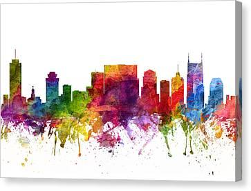 Nashville Cityscape 06 Canvas Print by Aged Pixel