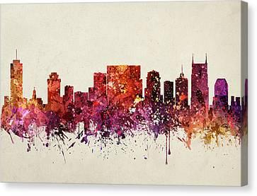 Nashville Cityscape 09 Canvas Print by Aged Pixel