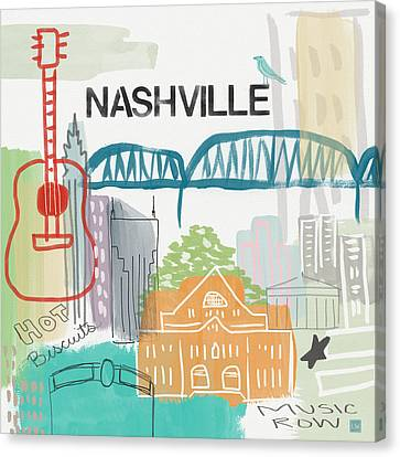 Nashville Cityscape- Art By Linda Woods Canvas Print by Linda Woods