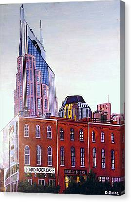 Nashville From River Canvas Print by George Grace