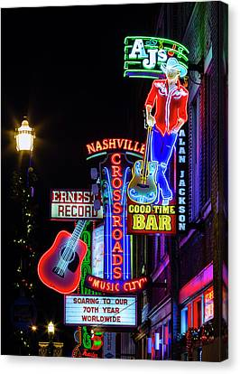 Nashville Neon Broadway Canvas Print by Stephen Stookey