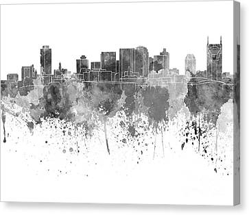 Nashville Skyline In Black Watercolor On White Background Canvas Print by Pablo Romero