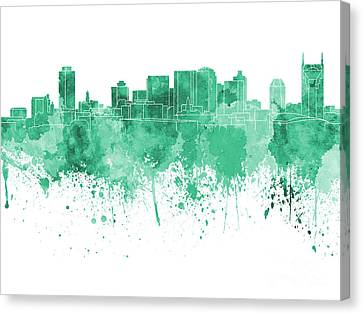 Nashville Skyline In Green Watercolor On White Background Canvas Print by Pablo Romero