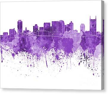 Nashville Skyline In Purple Watercolor On White Background Canvas Print by Pablo Romero