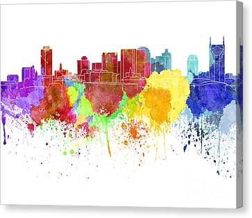Nashville Skyline In Watercolor On White Background Canvas Print by Pablo Romero