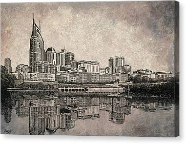 Nashville Skyline Mixed Media Painting  Canvas Print by Janet King