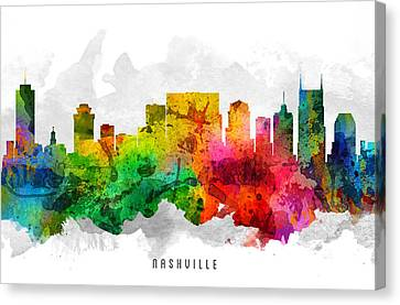 Nashville Tennessee Cityscape 12 Canvas Print by Aged Pixel