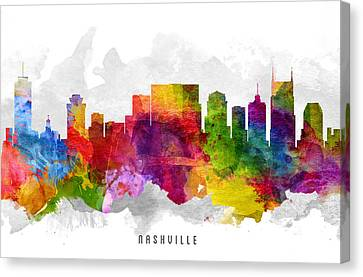 Nashville Tennessee Cityscape 13 Canvas Print by Aged Pixel