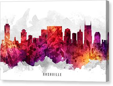 Nashville Tennessee Cityscape 14 Canvas Print by Aged Pixel