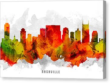 Nashville Tennessee Cityscape 15 Canvas Print by Aged Pixel