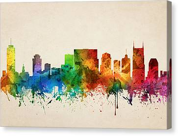 Nashville Tennessee Skyline 05 Canvas Print by Aged Pixel