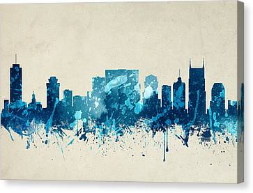 Nashville Tennessee Skyline 20 Canvas Print by Aged Pixel