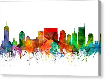 Nashville Tennessee Skyline 21 Canvas Print by Aged Pixel