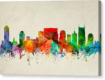 Nashville Tennessee Skyline 22 Canvas Print by Aged Pixel