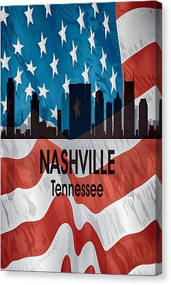 Nashville Tn American Flag Vertical Canvas Print by Angelina Vick