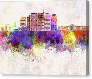 Nashville V2 Skyline In Watercolor Background Canvas Print by Pablo Romero