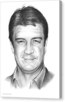 Nathan Fillion Canvas Print by Greg Joens